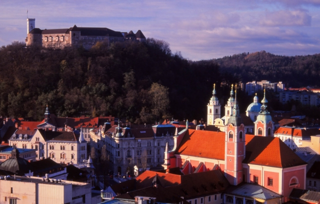 Slovenia, 1999: An 11th century castle looms over Ljubljana, Slovenia's picturesque capital