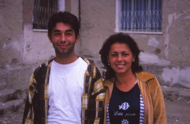 Albert Bojaxhui and his sister Genta outside their family's apartment in Berat