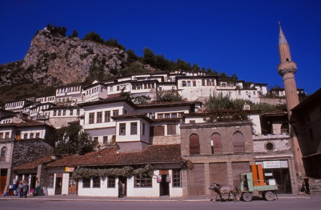 Mangalem, the old Muslim quarter of Berat, clings to the cliffside below the city's citadel