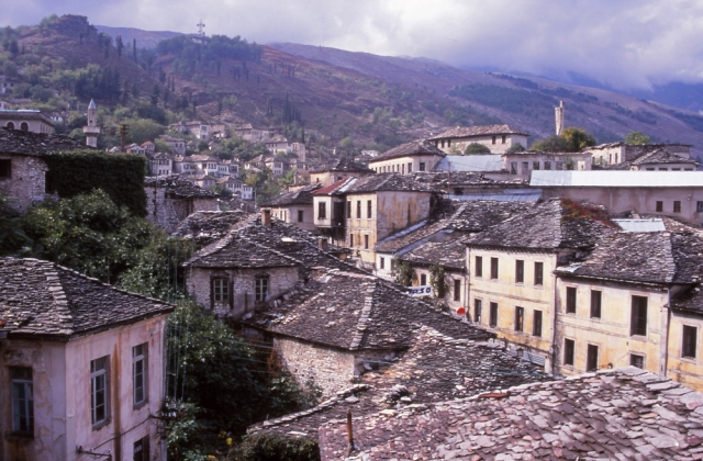 Gjirokastra is known for its historic slate-roofed houses and dramatic setting on a mountain spur