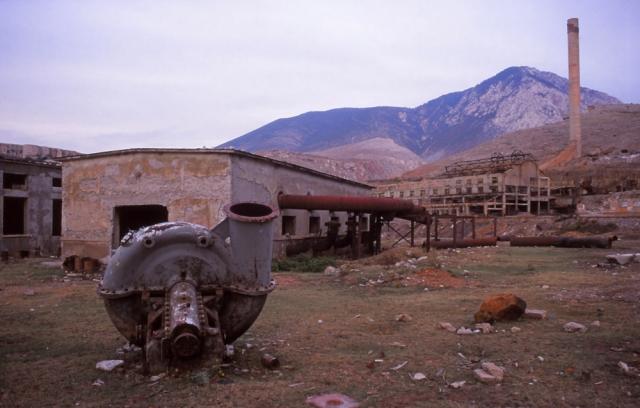 Abandoned chromium factory near Kukës