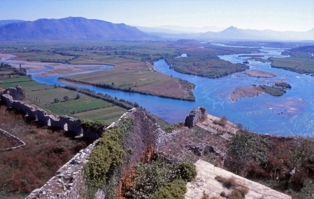 View from Rozafa Castle, on the outskirts of Shkodra, across the River Drin
