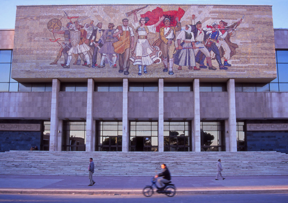 Socialist-realist mosaic mural on the National Museum in Tirana