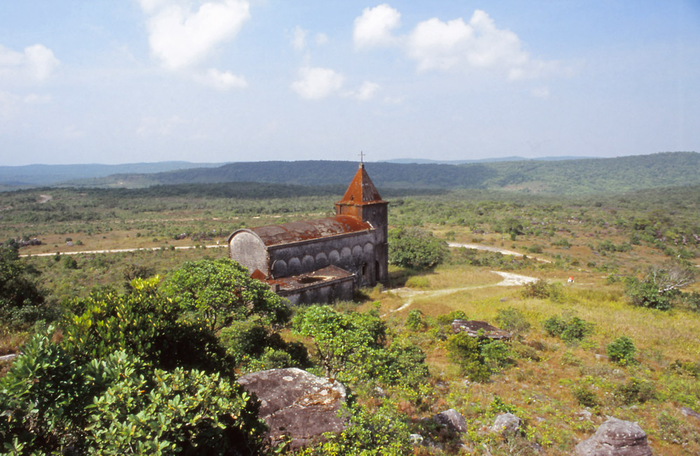 An abandoned church in a French colonial hill station, now part of Bokor National Park