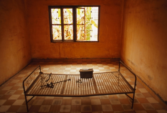 A cell at the infamous Tuol Sleng, a school converted into a detention and torture centre by the Khmer Rouge in 1975