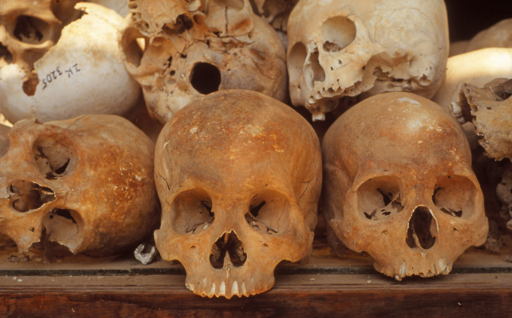 A few of the 8000 skulls displayed in the memoral stupa at Choeung Ek Killing Fields