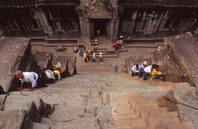The vertiginously steep steps leading to the highest level of Angor Wat symbolise the difficulty of reaching heaven